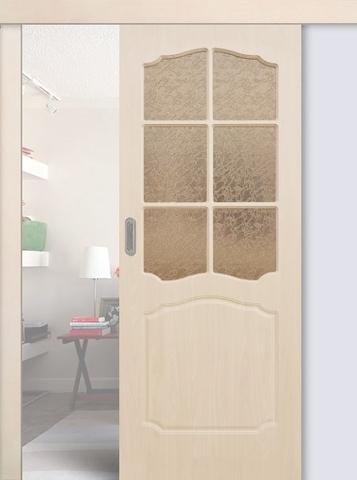 Дверь раздвижная Сибирь Профиль Классика, цвет беленый дуб, остекленная