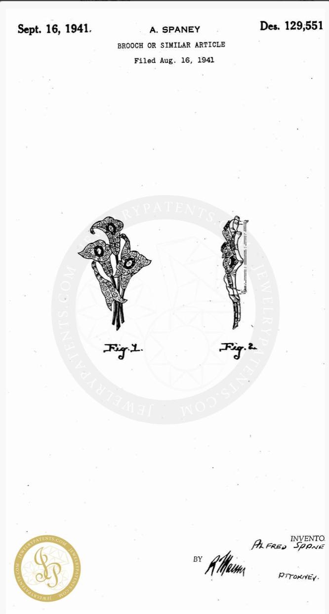 Редкая коллекционная брошь «Каллы» от Trifari 1941 года