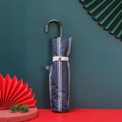 Суперлегкий зонт, ручка крюк, женский, с защитой от УФ, механика, 6 спиц (синий в полоску)