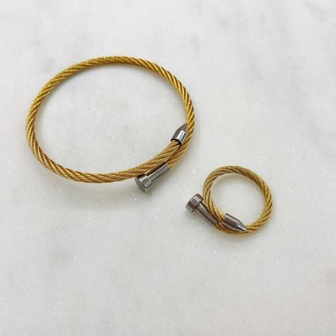 К-т Браслет и Кольцо, кабельный однорядный, сталь (золотистый)