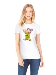 Футболка с принтом мультфильма Белоснежка и семь гномов, Допи (Snow White and the Seven Dwarfs) белая w001