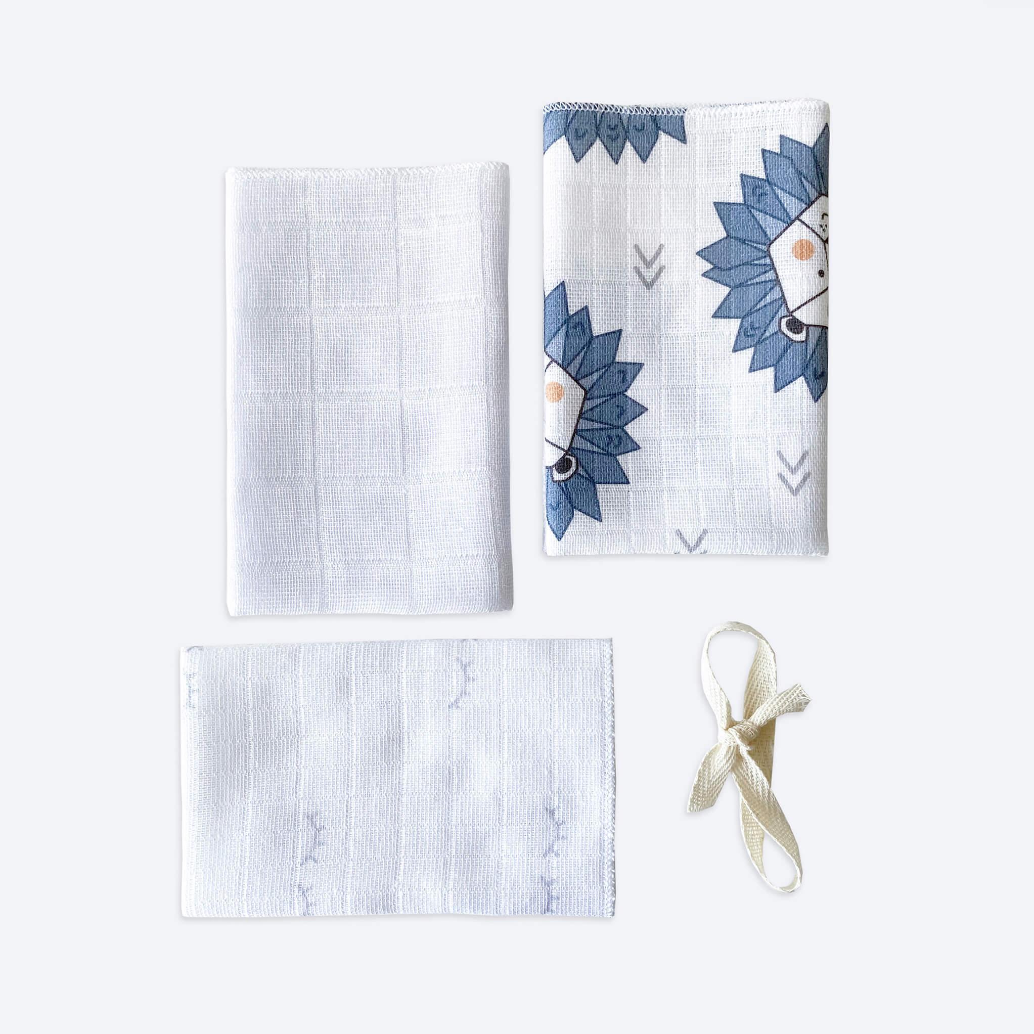 Сет из 3х муслиновых салфеток Mjölk Львы/Белый/Глазки