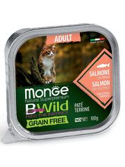 Беззерновые консервы для взрослых кошек, Monge Cat BWild GRAIN FREE, из лосося с овощами