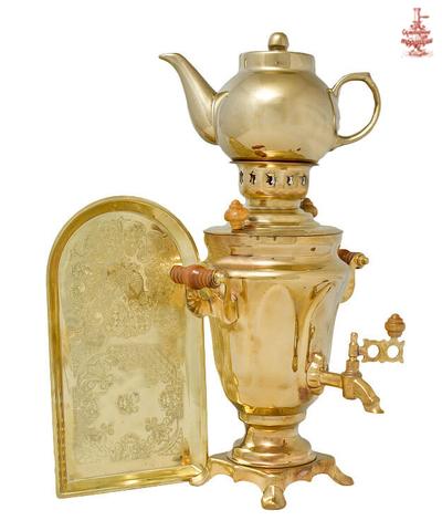 Самовар Тюльпан 1,5л латунь электрический в наборе с заварочным чайником и подносом