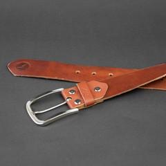 Ремінь кольору коньяк, натуральна шкіра ручна робота