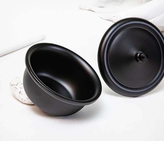 RAZ516 Черная стальная чаша для бритья с крышкой фото 05