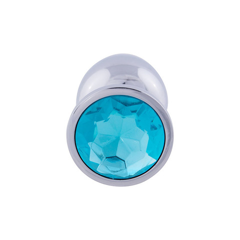 Анальная пробка с кристаллом (голубой), размер S