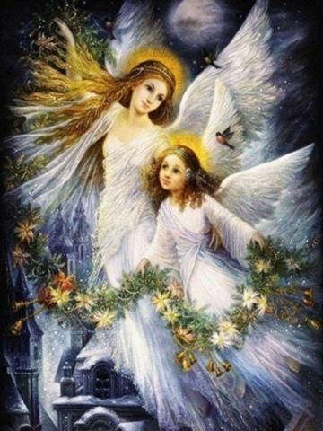 Алмазная Мозаика 30x40 Ангелы с цветами в руках (арт. S3294)