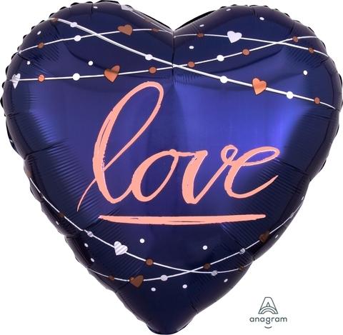 Сердце Love синее 60см