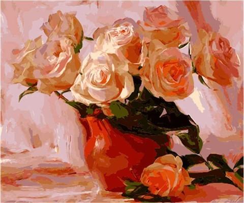Картина раскраска по номерам 40x50 Белые розы в вазе (ТС3325)