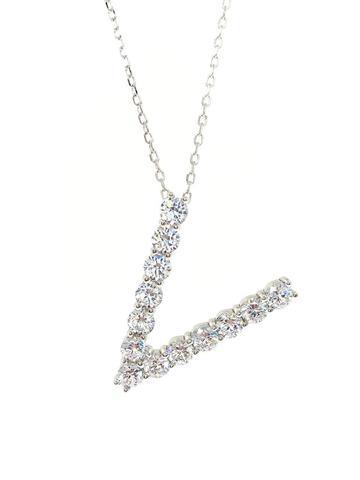 Подвеска  буква V из серебра с цирконами бриллиантовой огранки