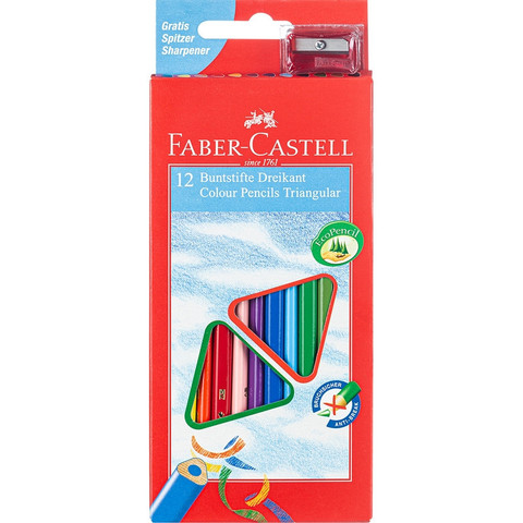 Карандаши цветные Faber-Castell 12 цветов трехгранные с точилкой