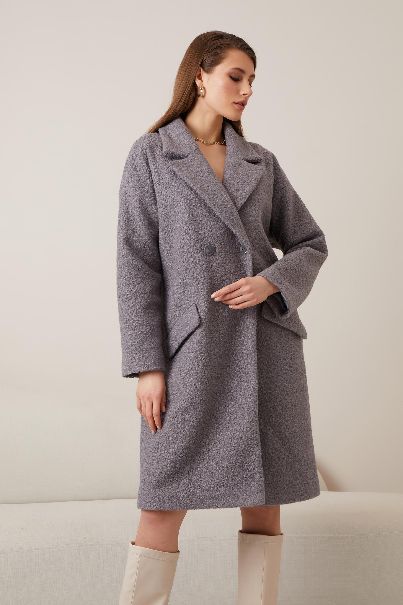 Прямое шерстяное  пальто (oversize) (серый)