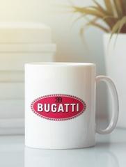Кружка с эмблемой Bugatti (Бугатти) белая 001