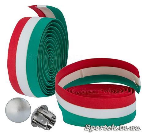 Обмотка на руль из красно-бело-зеленой полиуретановой ленты