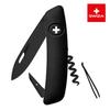 Швейцарский нож SWIZA D01 AllBlack, 95 мм, 6 функций, черный (подар. упак.)