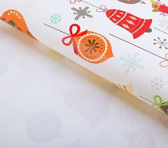 Крафт бумага НОВОГОДНЯЯ, 70 см*50 см, 1 лист, 80 г/м2.