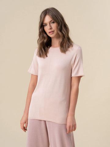 Женский шелковый джемпер светло-розового цвета с укороченным рукавом - фото 2