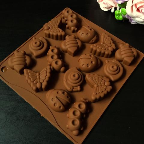 Силиконовая форма для шоколада РАЗНЫЕ НАСЕКОМЫЕ 16в1