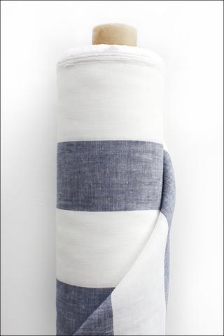 Полоска,бело-синяя, лен костюмный, умягченный, 9 см