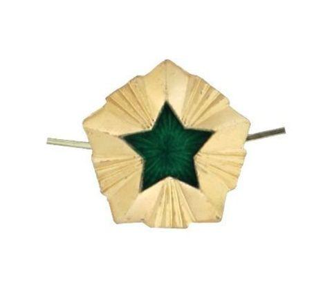 Звезда на погоны мет. 13 мм ФССП (зол. с зел. эмалью)
