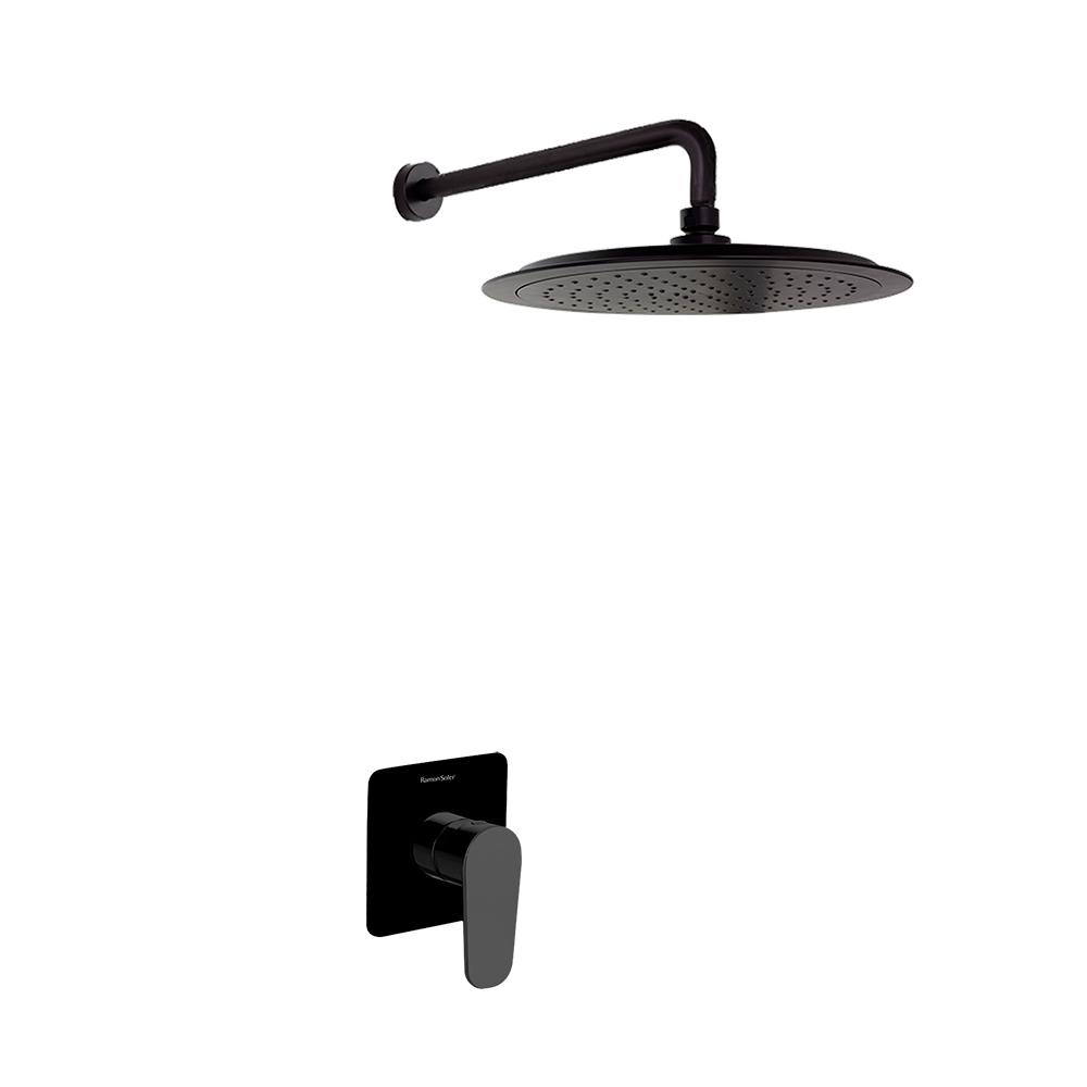 Встраиваемый смеситель для душа с душевым комплектом ALEXIA K3618012NM черный, на 1 выход