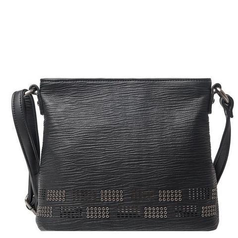 Черная сумка с тиснением и декоративными элементами