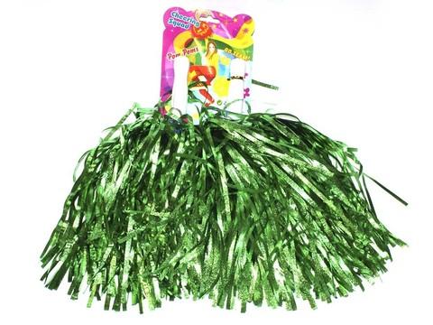 Помпоны для черлидинга металлизированные. Цвет зелёный. Ручка пластмассовая: длина 10 см, диаметр 2 см. SLB-40З