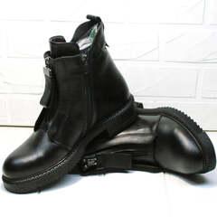 Низкие ботинки женские демисезонные кожаные Tina Shoes 292-01 Black.
