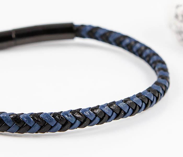 BM529-3 Плетеный мужской браслет из черной и синей кожи фото 04