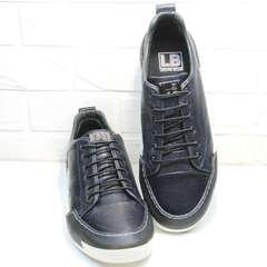 Модные кроссовки сникерсы кожа демисезонные мужские Luciano Bellini C6401 TK Blue.