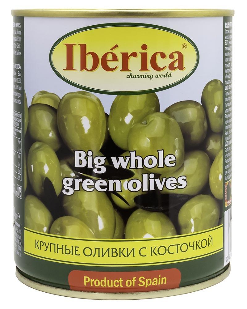 Оливки Iberica Гигантские (крупные) с косточкой 875гр