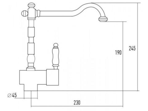 Смеситель для мойки Kuppersberg Paris KG400 GREY METAL. / BR