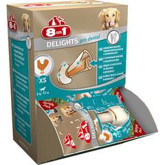 Лакомство для собак, 8in1 DENTAL DELIGHTS XS, косточки с куриным мясом для мелких собак с минералами