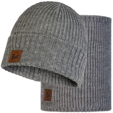 Комплект вязаный шапка-шарф Buff Knitted Polar Rutger Melange Grey фото 2
