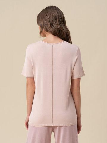 Женский шелковый джемпер светло-розового цвета с укороченным рукавом - фото 4