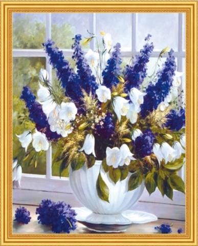 Алмазная Мозаика 40x50 Красивый бело-синий букет (арт. MGL8096 )