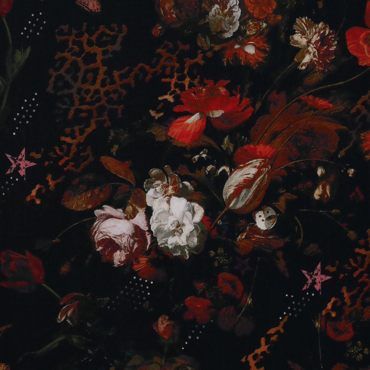 Тонкий шёлк с деталями голландского натюрморта