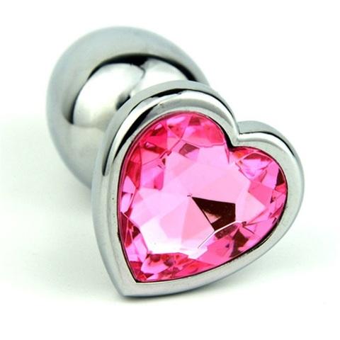 Анальная пробка сердечком светло-розовый страз 8х3,5см 47140-1MM