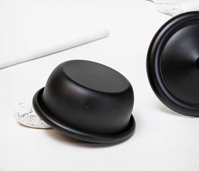 RAZ516 Черная стальная чаша для бритья с крышкой фото 09