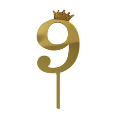 Y Топпер цифра 9 Корона GOLD 18см, 1шт.