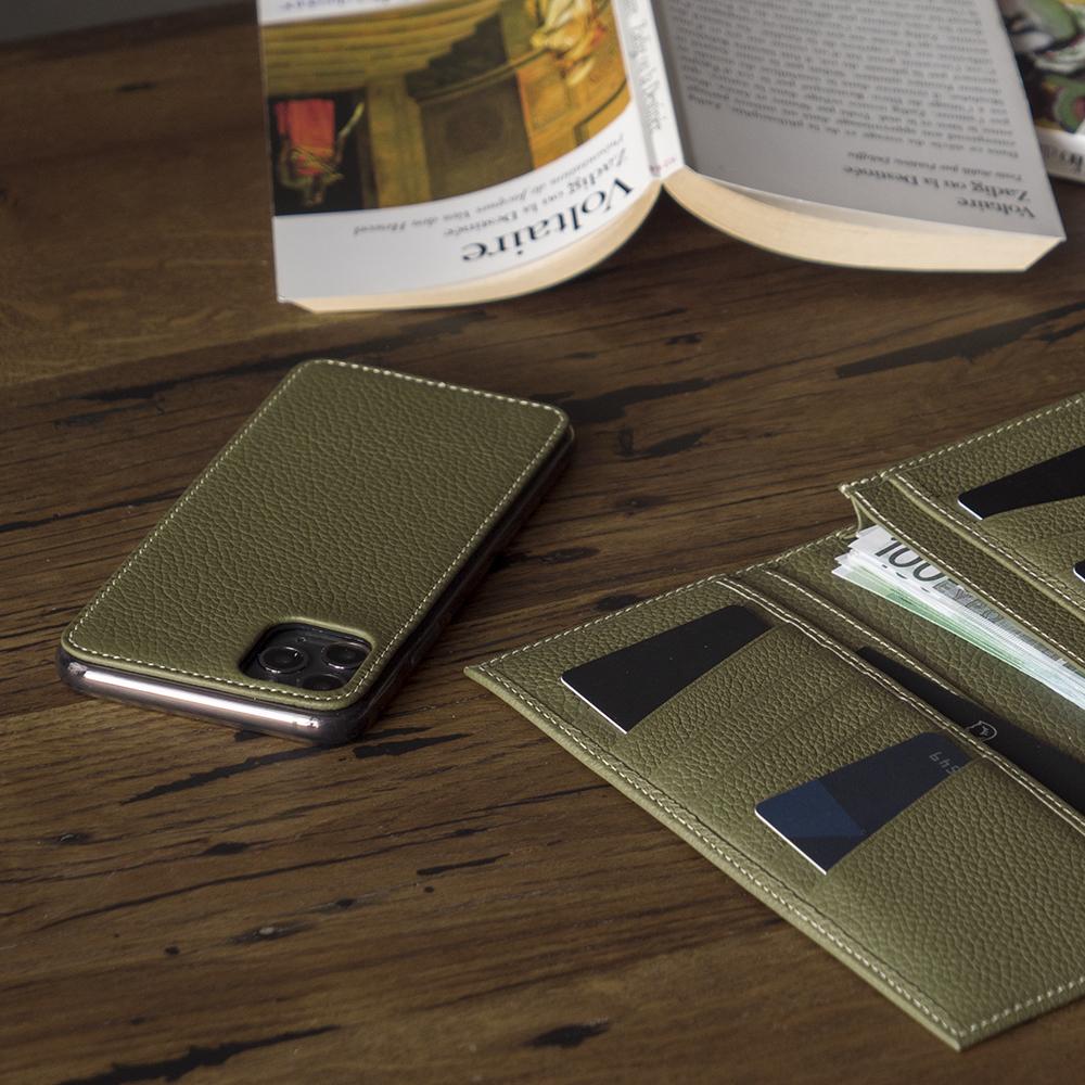 Чехол-накладка для iPhone 11 Pro Max из натуральной кожи теленка, зеленого цвета
