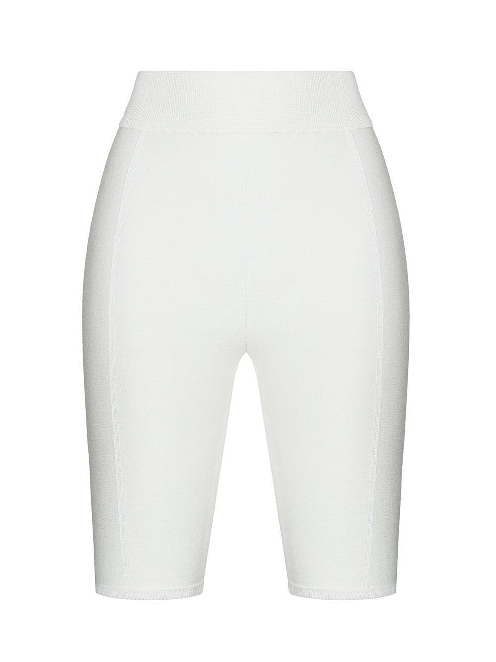 Женские шорты молочного цвета из 100% шелка - фото 1
