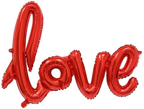 Фольгированная надпись LOVE красная