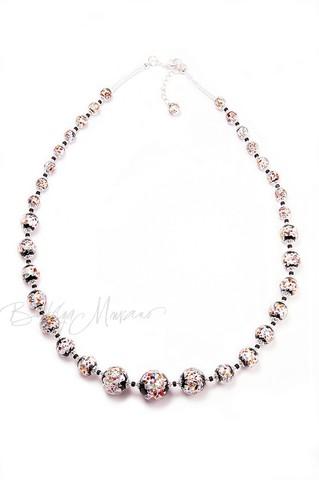 Ожерелье из муранского стекла Арлекино серебристое длинное