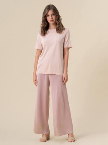 Женский шелковый джемпер светло-розового цвета с укороченным рукавом - фото 5
