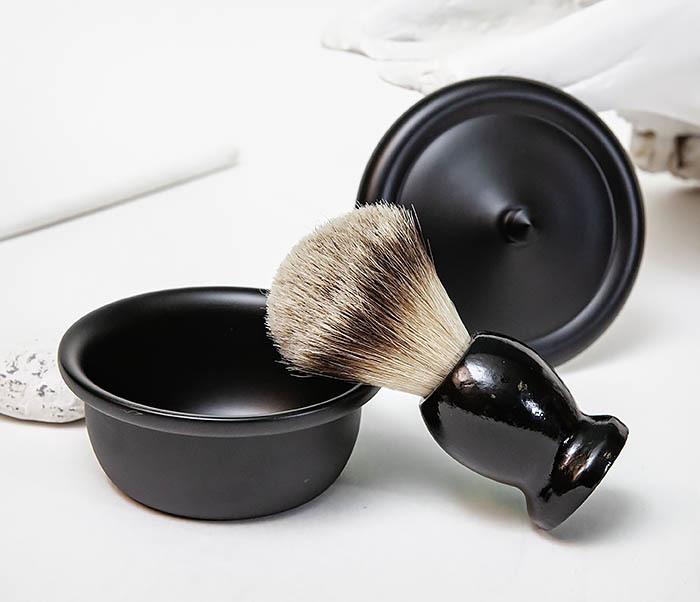 RAZ516 Черная стальная чаша для бритья с крышкой фото 10