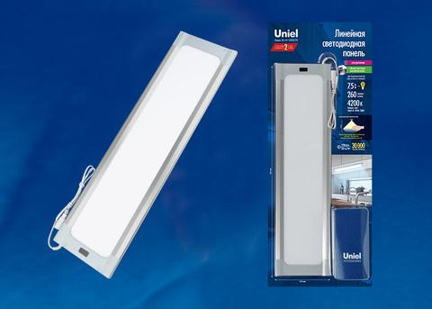 ULI-F42-7,5W4200K/DIM SENSOR IP20 SILVER Панель линейная светодиодная ультратонкая, с бесконтактным выключателем, диммер.460х120х11мм. 260Lm. Серебристый. ТМ Uniel