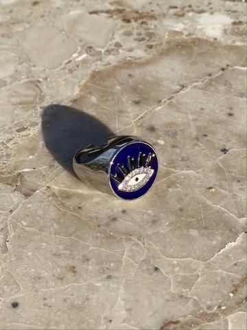 Кольцо-печатка Глаз из серебра с синей эмалью