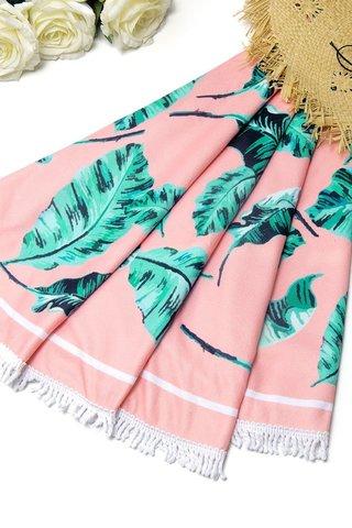 полотенце пляжное круглое розовое с листьями